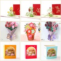3D Mothers Day Pop Up Cards Flowers Card Anniversary Birthday Gifts Card Thank you Greeting Card for All Occasions Wife Her Girl Y0224