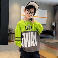 Boys Sweatshirt Fall Fashion New Medium and Big Kids Letters Color-blocking Round Neck Top