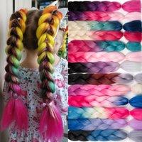 옴 브레 꼰 머리 100g / piece 24inch 합성 세 2 톤 열 섬유 점보 머리 끈 머리 확장 105 색