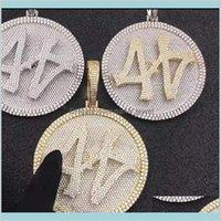 Colares Pingentes Banhados a Ouro Mens Hiphop Bling Jóias Presente Blingling Cz Gelado Out Número 44 Tamanho Grande Diamante Rodada Pingente De Pingente
