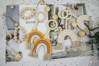 Rainbow Tassel toy Macrame Wooden Rattle Ring Newborn Nursing Teether Sensory Molar Baby Shower Gifts