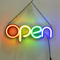 16'' LED Neon Sign OPEN Light 4 Colors Handmade Visual Artwork Bar Club KTV Wall Decoration Commercial Lighting Colorful Tube Bulbs