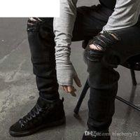 Erkek Düz Slim Fit Biker Jean Pantolon Sıkıntılı Sıska Yırtık Yıkılan Denim Kot Yıkanmış Hiphop Pantolon Siyah Moda