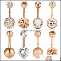Sobrancelha Jóias Jóias8pcs Botão Curto 14g Chirurgisch Steel para Mulheres Meninas Umbigo Barriga Anéis Cristal CZ Barbell Body Piercing 6 8 10mm D