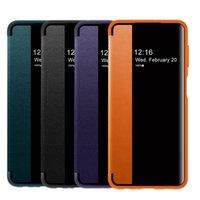 Smart View Окно PU Кожаный Флип Четыре Чехол для Samsung Galaxy S21 S20 NOTE20 Ультра A21S A20E A12 A32 A42 A52 A72 360 Полный защитный чехол