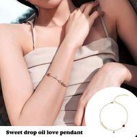Charm Bracelets Women's Bracelet Love Heart Pendant Stained Wrist Chain Adjustable Length Thin Elegant Jewelry Gift For Girls EA