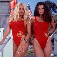 Bfustyle Amerikan Baywatch Aynı Tek Parça Mayo Kadınlar Kadın Seksi Parti Kırmızı Mayo Bather Artı Boyutu Mayo
