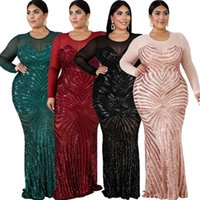 Ethnic Clothing 4XL 5XL Plus Size African Dresses For Women Black Sequins Round Neck Long Sleeves Daily Evening Party Dress Africa Maxi Vest