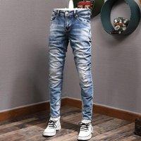Men's Jeans European Vintage Fashion Men Retro Blue Elastic Slim Fit Ripped Distressed Plain Designer Casual Denim Pants