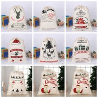 Children And Adults Christmas Gift Canvas Drawstring Bag Cute Santa Reindeer Collection Pattern Pocket Party Items50*70cm