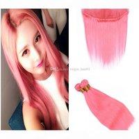핑크 인간의 머리카락으로 묶여있는 핑크 머리카락 닫기 핑크 머리카락 묶음 귀에 레이스 정면 폐쇄 4pcs 로트