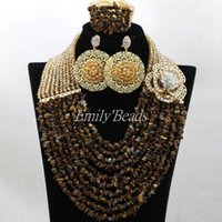 Earrings & Necklace 2021 Fashionable African Beads Jewelry Set 10 Rows Nigerian Wedding Costume Bridal ALJ169