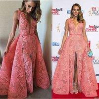 2015 Watermelon Evening Dresses A-line Deep V Neckline Front Split Floor Length Middle East Celebrity Party Dresses