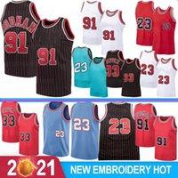 Scottie 33 Pippen 23 Michael Männer Basketball Trikots Dennis 91 Rodman College North Carolina University Stock Retro Mesh S-XXL