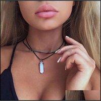 Pendant & Jewelryfashion Womens Leather Necklaces Natural Stone Hexagonal Column Pendants Statement Chokers Necklace Quartz Crystals Drop De