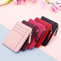 Card Holders Ultra-Thin Small Wallet Credit Business Fashion PU Zipper Organizer Case Student Women Coin Purse Money Bag