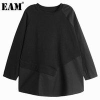 [eam] النساء غير المتكافئة زر تقسم حجم كبير الحجم تي شيرت جولة الرقبة طويلة الأكمام الأزياء المد الربيع الخريف 2021 1dd3065 المرأة