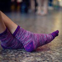 Men's Socks Free Size Soft Cotton Blend Casual Men Women Retro Color Five Finger Toe