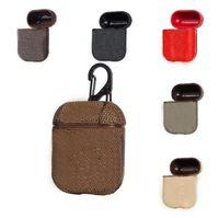 Cajas de cuero de PU para manzana Airpods Pro Cubierta protectora Poders de aire Funda inalámbrica Bluetooth Funda con llavero de cierre de gancho