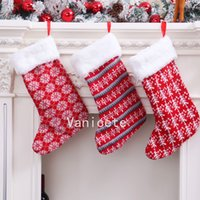 Christmas Decorations knitted wool stock red and white stripe children's gift bag Christmas stockings T2I52461