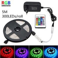Strips 24-key SMD LED Strip 12V RGB Light Tape Waterproof Flexible Neon Sign 5M 300LEDs   Roll Lights 10M 15M 20M EU US Plug