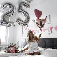 Party Decoration 2pcs 32 40inch Gold Silver Number Balloons Giant Digit 18 24 25 26 Birthday Balloon Girl 25th Years Old Decorations Supply