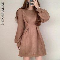 Повседневные платья Shengpalae 2021 Осень Корея CHIC Office Lady Round Hear Solid Color Simple Long-Sleav Мода плиссированная A-Line платье 8D588