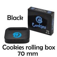 모든 검은 가방 쿠키 금속 담배 담배 롤링 머신 휴대용 흡연 롤러 상자 케이스 70mm 종이 손 수동 트레이 소매 패키지 포장