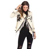Women's Jacket Geometric Fringed Shawl Coat Long-Sleeved Knitted Cardigan Large Size Tops Jackets