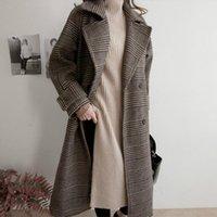 Женская шерстяная смесь 2021 женская осень осень зима длинные клетки шерстяное пальто с двубортными шириной талии пальто с полным рукавом куртка