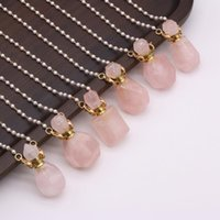 Pendant Necklaces Elegant Natural Quartzs Perfume Bottle Necklace Pearl Bead Chain Choker For Women Party Jewelry Gifts