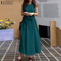 Casual Dresses Vintage Solid Maxi Dress Women Summer Sundress 2021 ZANZEA Sleeveless Beach Vestidos Belted Female O Neck Robe