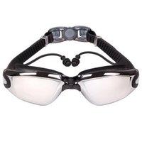 Queshark Professionelle Silikon Anti-Nebel UV-Myopie-Schwimmbrillen Goggles Männer Frauen Dioptrien Sport Schwimmen Eyewear mit Ohrstöpsel 343 B3