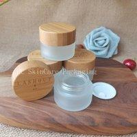 Toptan 5G-100g Buzlu Cam Şişe Kavanoz Bambu Kapaklı Kozmetik CBD Herb Krem Cilt Bakımı Paketleme KonteynırlarıGoods