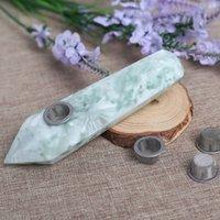 자연 크리스탈 눈송이 녹색 6 다이아몬드 열 파이프 특성 원래 돌 손잡이 공장 직접 판매