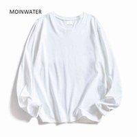 Mulheres Moinwater Mulheres De Manga Longa T Camisetas Lady White Algodão Tops Feminino Macio Casual T-shirt Preto Mulheres MLT1901 Y0508