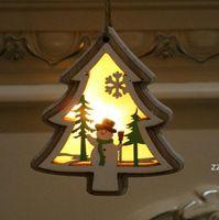 Рождественские освещенные деревянные кулон Рождественская елка колокольчик подарок звезда дизайн висит кулон веселый рождественские дерево висит орнамент hwe9493