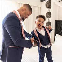 Father And Son Men Suits 3 Pcs Costume Homme Shawl Lapel Tuxedos Slim Fit Groom Prom Terno Masculino Blazer Jacket+Pant+Vest