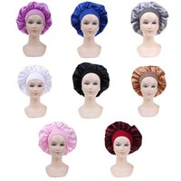 58cm Long Hair Care Women Satin Bonnet Cap Night Sleep Hat Silk Head Wrap Adjust Shower Caps Knitted Solid Color