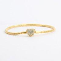 18k amarillo chapado en oro CZ Diamond Heart Brazalets Original caja de caja para Pandora 925 Silver Snake Chain Pulsera de la joyería de la boda EEEDG