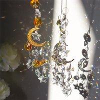 40 # cinco-pontiainted estrela calhas de vento cristais de lua ornamentos decoração de jardim pingentes ao ar livre janela vintage arco-íris suncatchers decorações