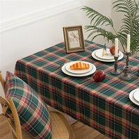 Simple Style Christmas Stripe Table Stoffa Nordic Copertura del cuscino Nordico Red Green Green Tovaglia Assegnata Casa Tavoli da pranzo Panni da pranzo