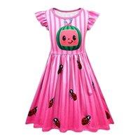 2021 Cocomelon Estate Summer Children's Rassk Sleeve Dress Watermelon Ladybird stampato Girls Princess Dresses Birthday Party Gonna Vestiti G5203ut