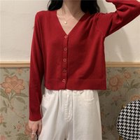 Cropped Cardigan Knitted V Neck Sweater Women Long Sleeve Thin Sun Protection Shirt Top Short Jacket Summer 2021 Gentle Wind Women's Knits &