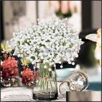 Grinaldas festivas festas suprimentos gardenpiece bebês brancos respiração flores artificiais falsificadas gypsophila diy floral ramalhetes arranjo casamento ho