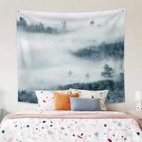 태피스트리 LaeaCco 패션 태피스트리 Fairyland 회색 안개가 자욱한 숲 풍경 인쇄 벽 교수형 현대 홈 거실 장식 폴리 에스터