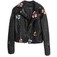 Embroidered Rivet Leather Female Spring Short Slim Self-cultivation Motorcycle Jackets Wild Thin Embroidery Womens Coats Women's
