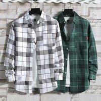 Chemises occasionnelles de Homme Qiwn chemise à carreaux vierge Veste d'été à manches longues en tête coréenne