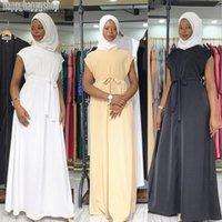 Dubai Women Sleeveless Dress Inner Abaya Islamic Muslim Belt Kaftan Turkish Casual Loose Robe Simple Style Party Gown Pure Color Dresses