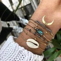 Link, Chain 6 Pcs  Set Boho Eyes Heart Moon Black Beads Opening Gold Bracelet Personality Multilayer Party Jewelry Women
